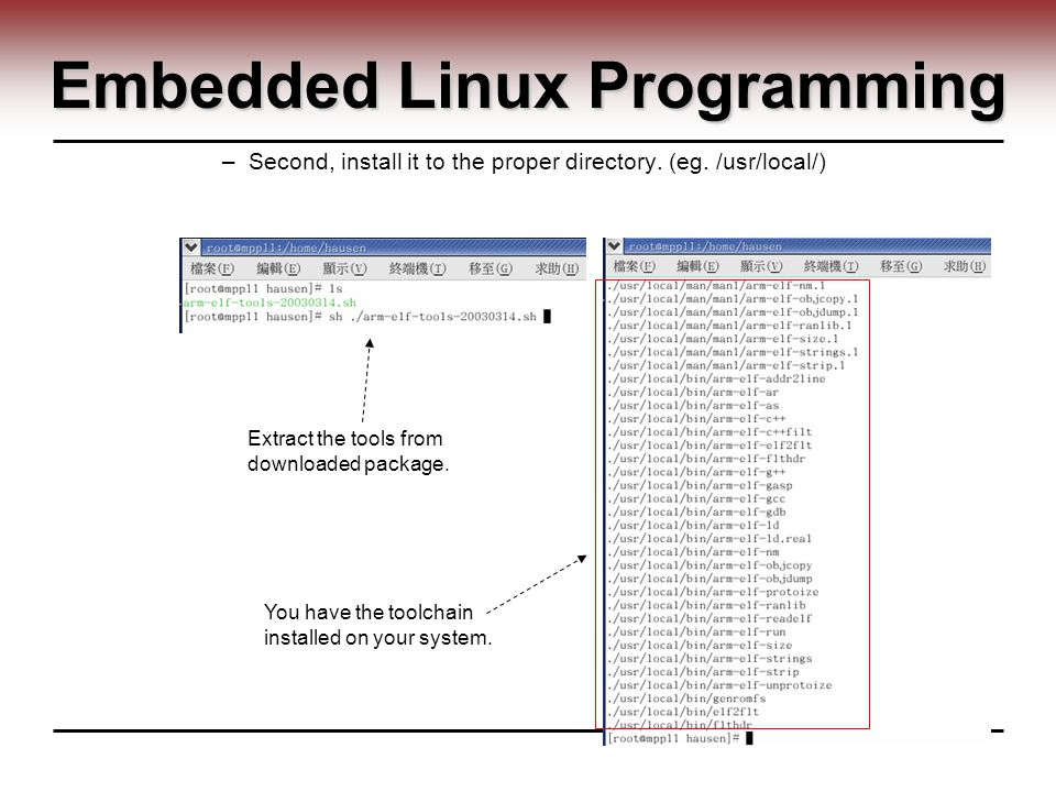 Embedded Linux Programming –Second, install it to the proper directory.