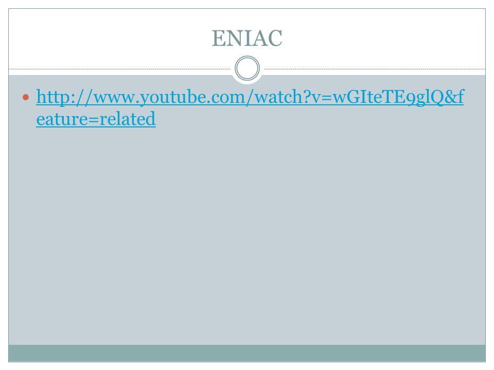 ENIAC http://www.youtube.com/watch v=wGIteTE9glQ&f eature=related http://www.youtube.com/watch v=wGIteTE9glQ&f eature=related