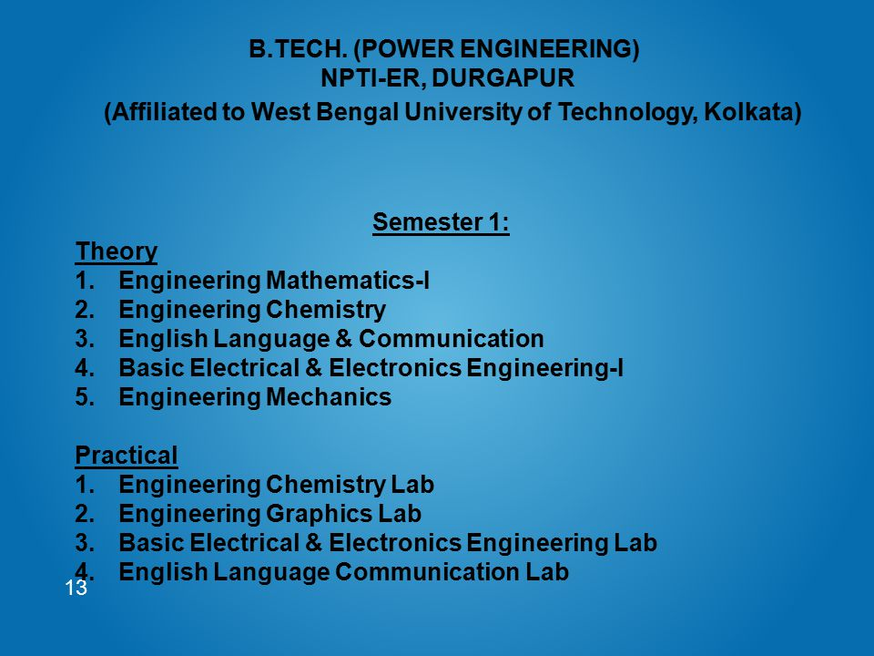 13 Semester 1: Theory 1.Engineering Mathematics-I 2.Engineering Chemistry 3.English Language & Communication 4.Basic Electrical & Electronics Engineer