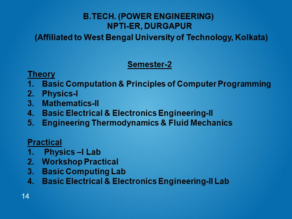 14 Semester-2 Theory 1.Basic Computation & Principles of Computer Programming 2.Physics-I 3.Mathematics-II 4.Basic Electrical & Electronics Engineerin