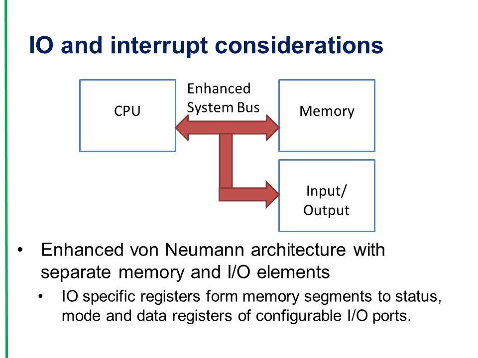 IO and interrupt considerations Enhanced von Neumann architecture with separate memory and I/O elements IO specific registers form memory segments to