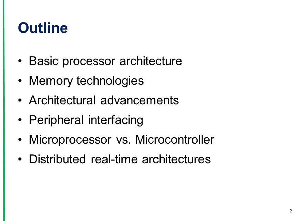 Outline Basic processor architecture Memory technologies Architectural advancements Peripheral interfacing Microprocessor vs. Microcontroller Distribu