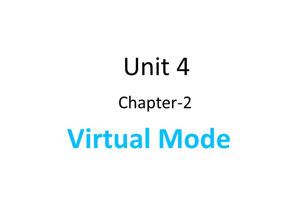 Unit 4 Chapter-2 Virtual Mode