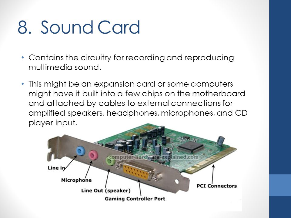 8. Sound Card Contains the circuitry for recording and reproducing multimedia sound.