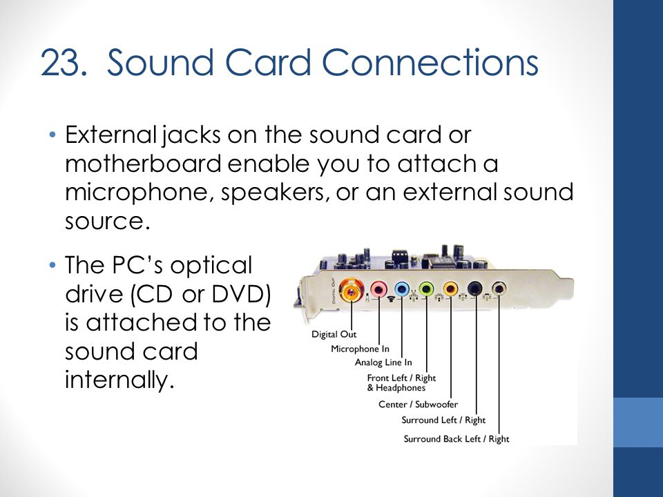 23. Sound Card Connections External jacks on the sound card or motherboard enable you to attach a microphone, speakers, or an external sound source. T