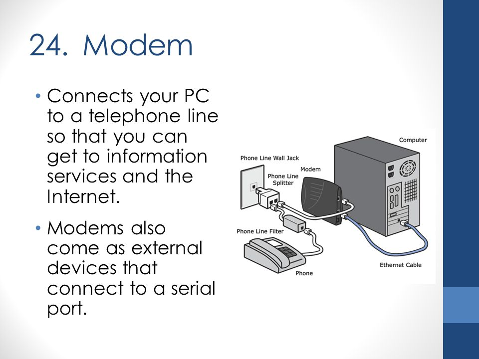 24. Modem Connects your PC to a telephone line so that you can get to information services and the Internet. Modems also come as external devices that