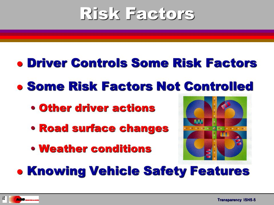 Transparency ABS- 11 Risk Factors l Driver Controls Some Risk Factors l Some Risk Factors Not Controlled Other driver actionsOther driver actions Road surface changesRoad surface changes Weather conditionsWeather conditions l Knowing Vehicle Safety Features Transparency ISHS-5 52