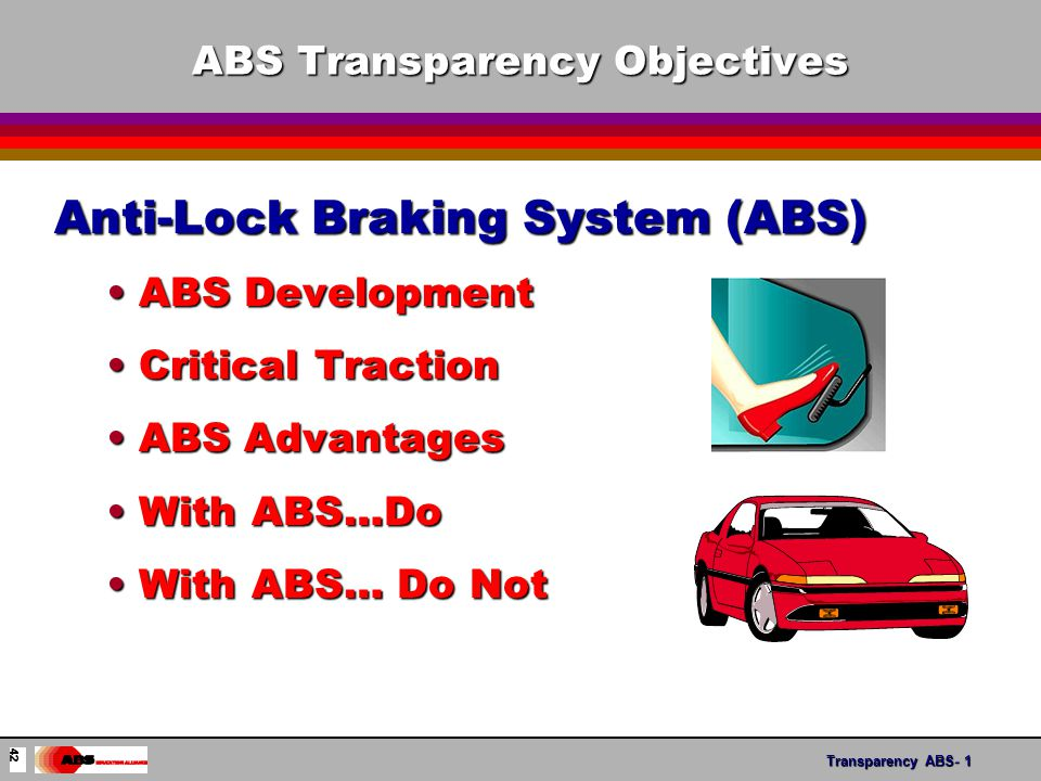 Transparency ABS- 12 Understanding ISHS l Intelligent Stability and Handling Systems Standard equipmentStandard equipment Optional equipmentOptional equipment l Recognizing System Names Active HandlingActive Handling Electronic Stability Program (ESP)Electronic Stability Program (ESP) AdvanceTrac TMAdvanceTrac TM StabiliTracStabiliTrac Dynamic Stability ControlDynamic Stability Control Traxxar TMTraxxar TM Transparency ISHS-6 53