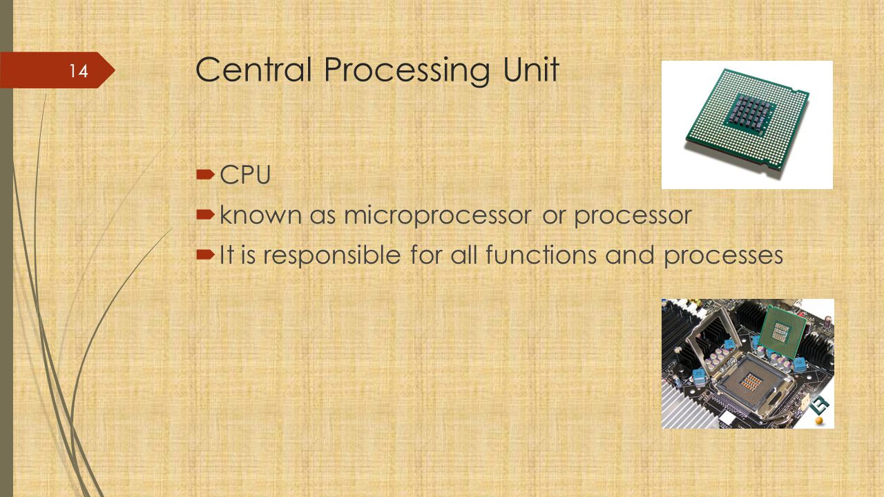 Central Processing Unit  CPU  known as microprocessor or processor  It is responsible for all functions and processes 14