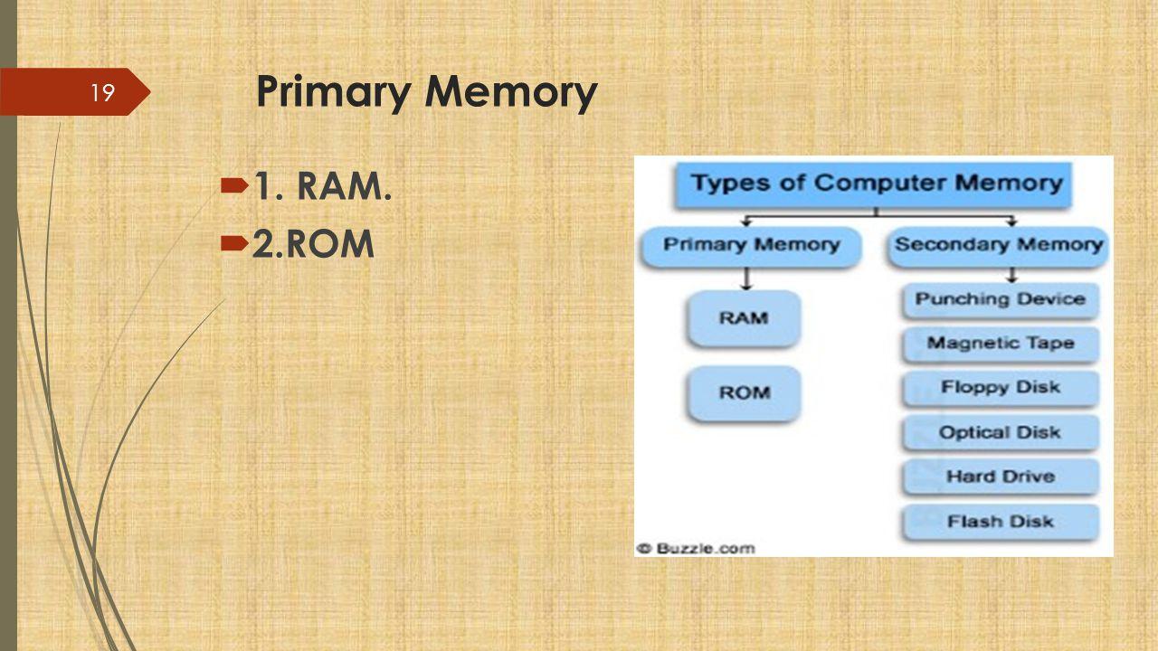 Primary Memory  1. RAM.  2.ROM 19