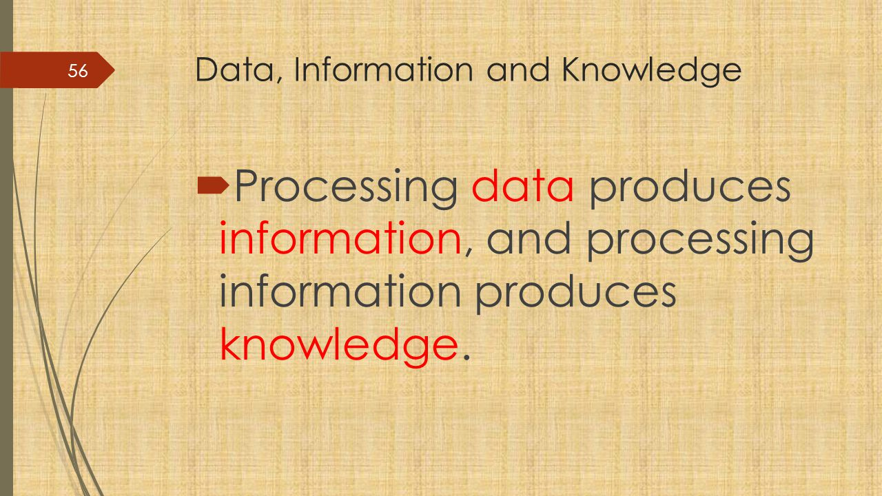 Data, Information and Knowledge  Processing data produces information, and processing information produces knowledge.