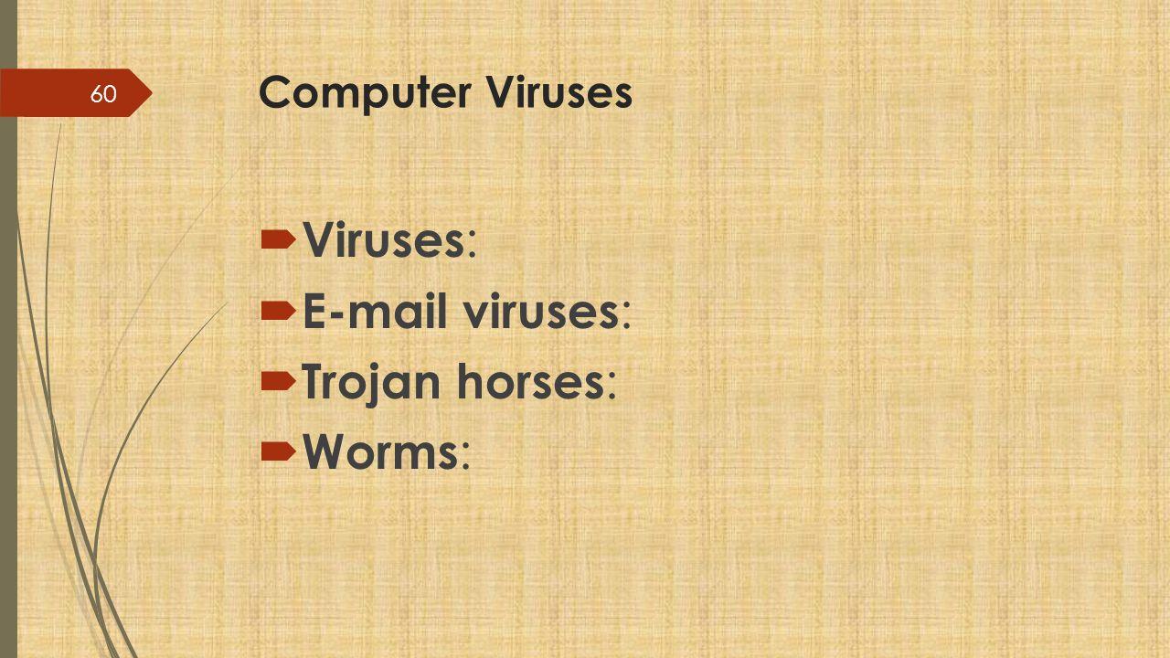 Computer Viruses  Viruses :  E-mail viruses :  Trojan horses :  Worms : 60