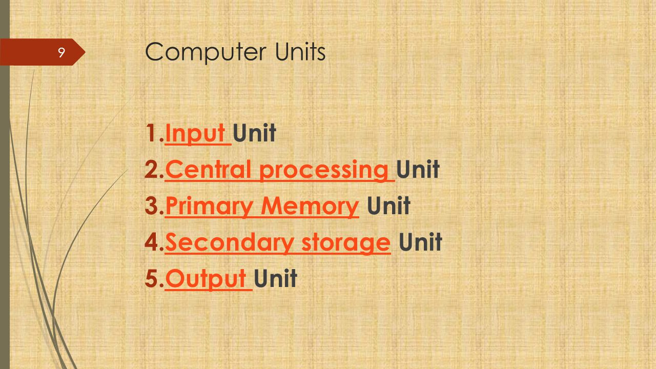 Computer Units 1.Input UnitInput 2.