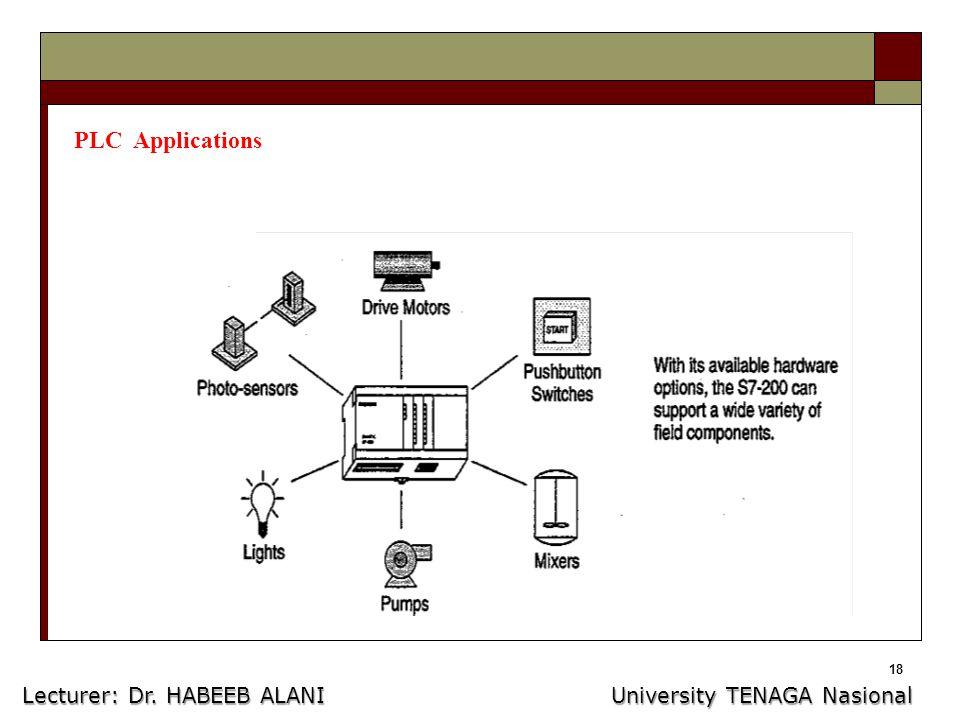 18 PLC Applications Lecturer: Dr. HABEEB ALANI University TENAGA Nasional