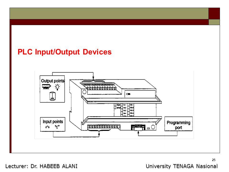 25 PLC Input/Output Devices Lecturer: Dr. HABEEB ALANI University TENAGA Nasional