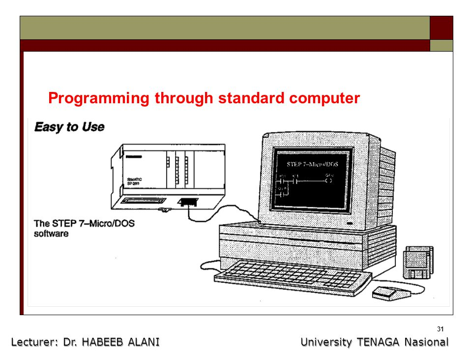 31 Programming through standard computer Lecturer: Dr. HABEEB ALANI University TENAGA Nasional