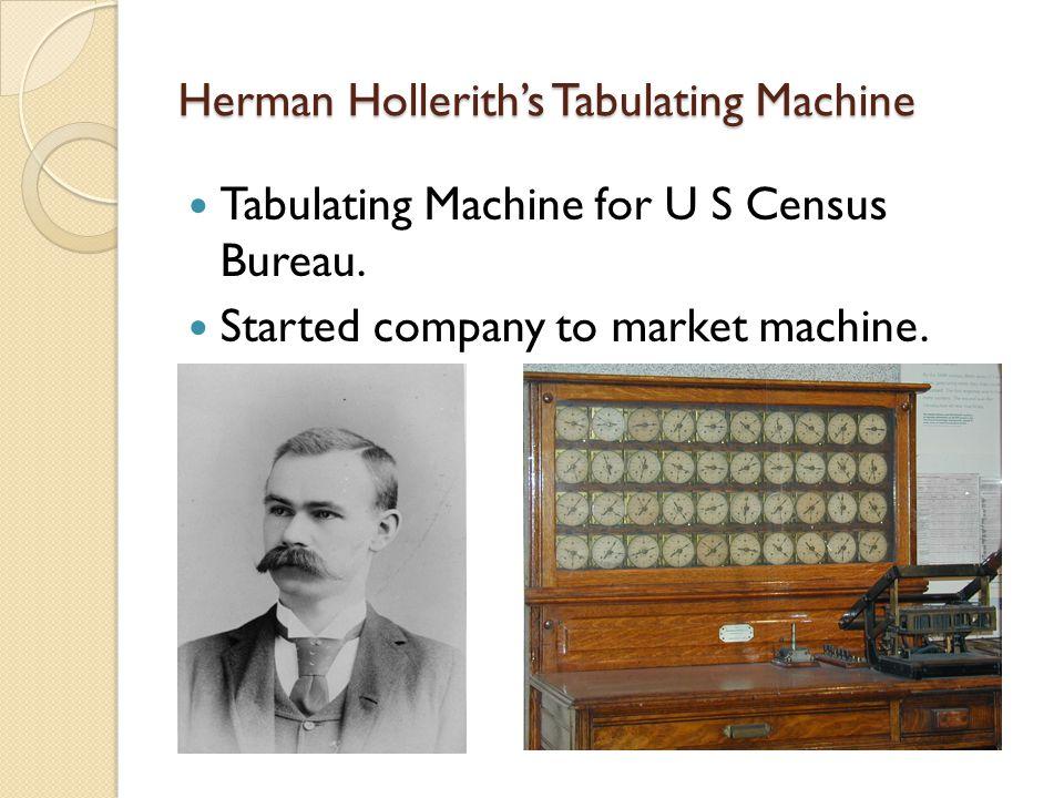 Herman Hollerith's Tabulating Machine Tabulating Machine for U S Census Bureau. Started company to market machine.