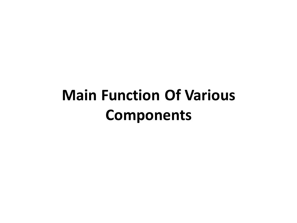 Main Function Of Various Components