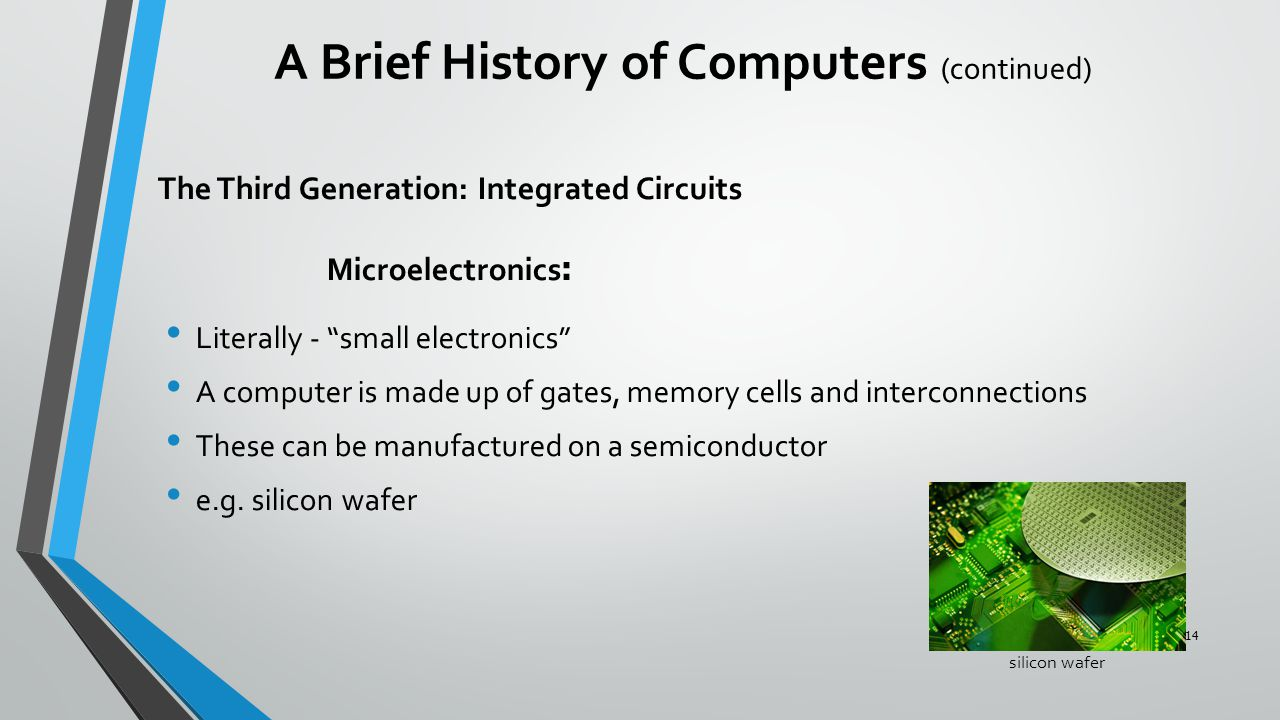"""The Third Generation: Integrated Circuits :Microelectronics Literally - """"small electronics"""" A computer is made up of gates, memory cells and interconn"""