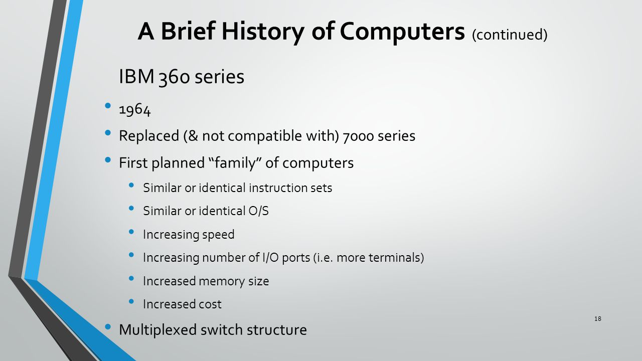 """IBM 360 series 1964 Replaced (& not compatible with) 7000 series First planned """"family"""" of computers Similar or identical instruction sets Similar or"""