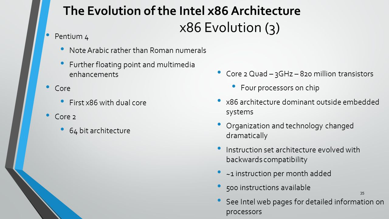 x86 Evolution (3) Pentium 4 Note Arabic rather than Roman numerals Further floating point and multimedia enhancements Core First x86 with dual core Core 2 64 bit architecture Core 2 Quad – 3GHz – 820 million transistors Four processors on chip x86 architecture dominant outside embedded systems Organization and technology changed dramatically Instruction set architecture evolved with backwards compatibility ~1 instruction per month added 500 instructions available See Intel web pages for detailed information on processors The Evolution of the Intel x86 Architecture 35