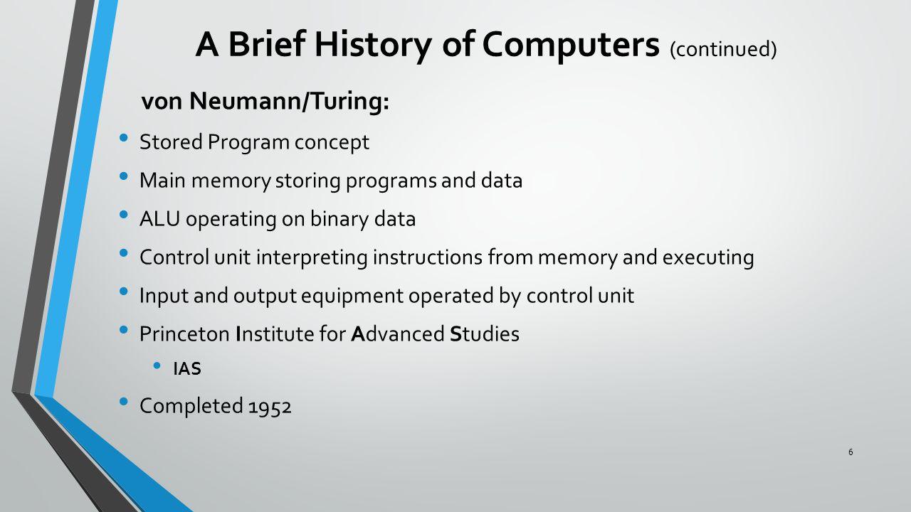 von Neumann/Turing: Stored Program concept Main memory storing programs and data ALU operating on binary data Control unit interpreting instructions f