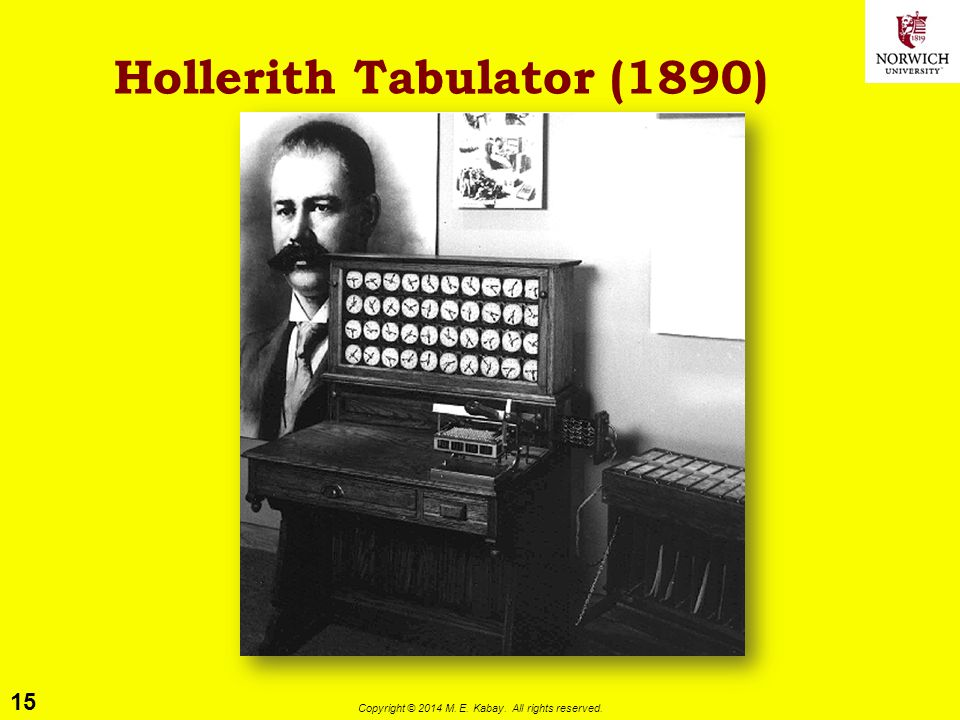 15 Copyright © 2014 M. E. Kabay. All rights reserved. Hollerith Tabulator (1890)
