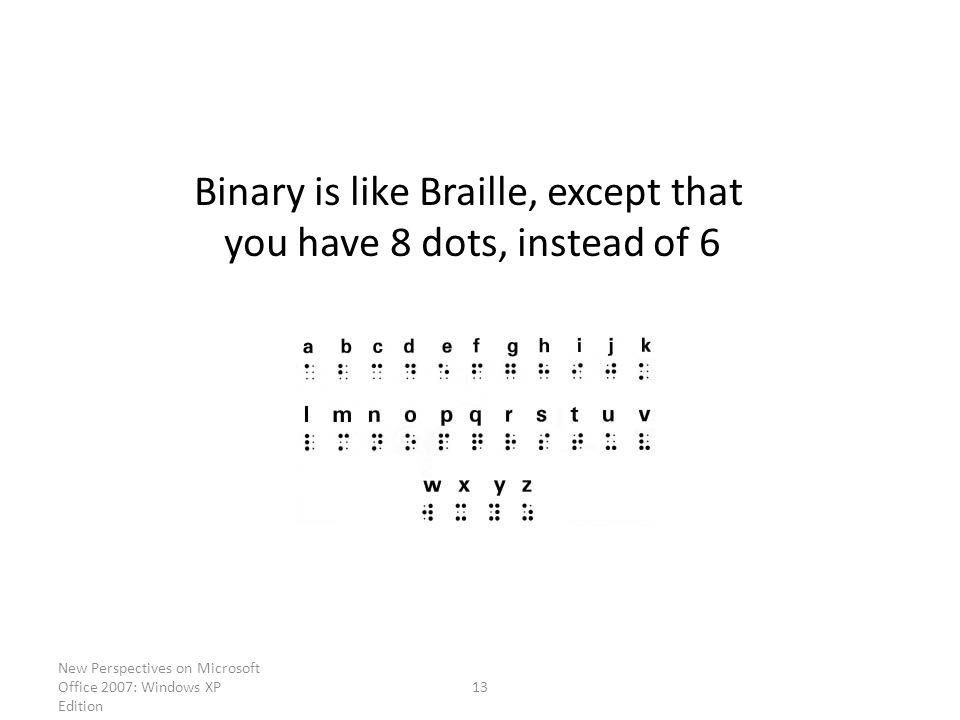 New Perspectives on Microsoft Office 2007: Windows XP Edition 13 Binary is like Braille, except that you have 8 dots, instead of 6