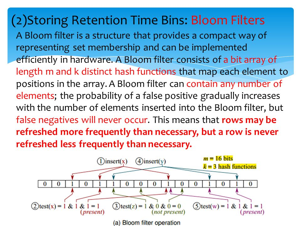 (2)Storing Retention Time Bins: Bloom Filters A Bloom filter is a structure that provides a compact way of representing set membership and can be impl