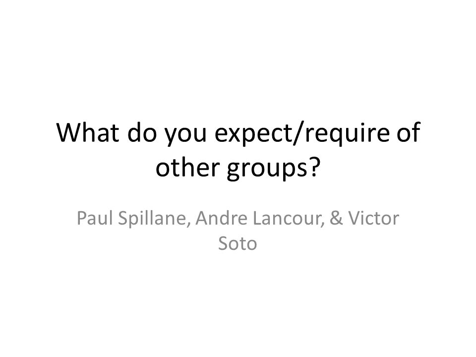 What do you expect/require of other groups Paul Spillane, Andre Lancour, & Victor Soto