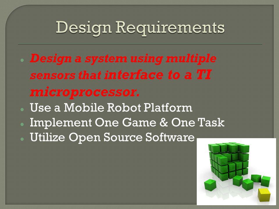 Multi Sensor System: Microsoft Kinect Processor: Beagle Board Mobile Robot: Roomba Game: Laser Tag Task: Intruder Detection Open Source Software: Microsoft SDK, TIesr (Speech Recognition)