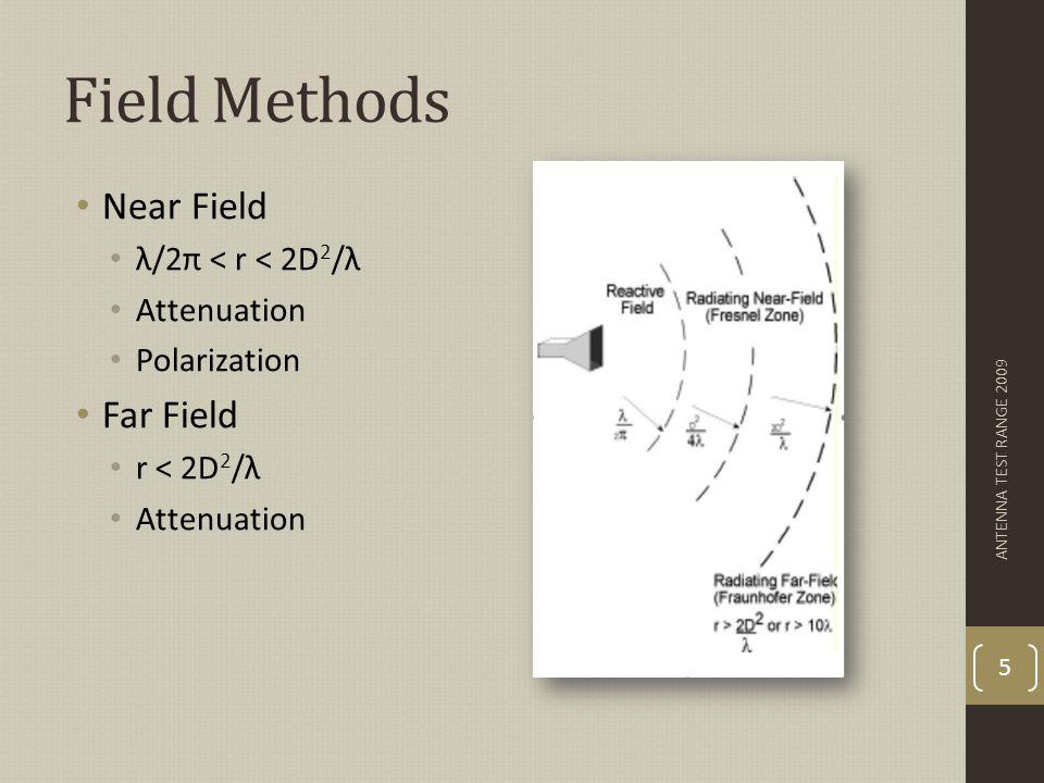 Near Field/Far Field Techniques Three techniques Planar Scanner Spherical Scanner Cylindrical Scanner Mathematical simplicity ANTENNA TEST RANGE 2009 6