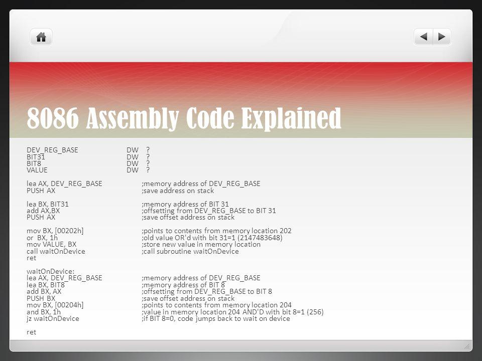 8086 Assembly Code Explained DEV_REG_BASE DW . BIT31 DW .
