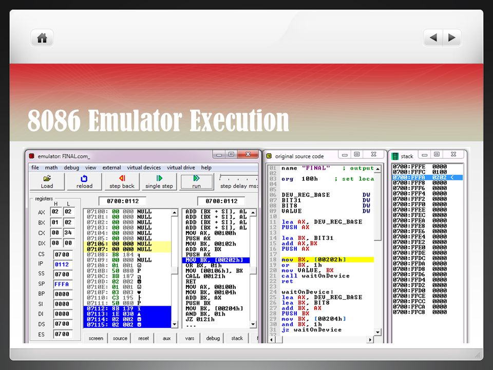8086 Emulator Execution