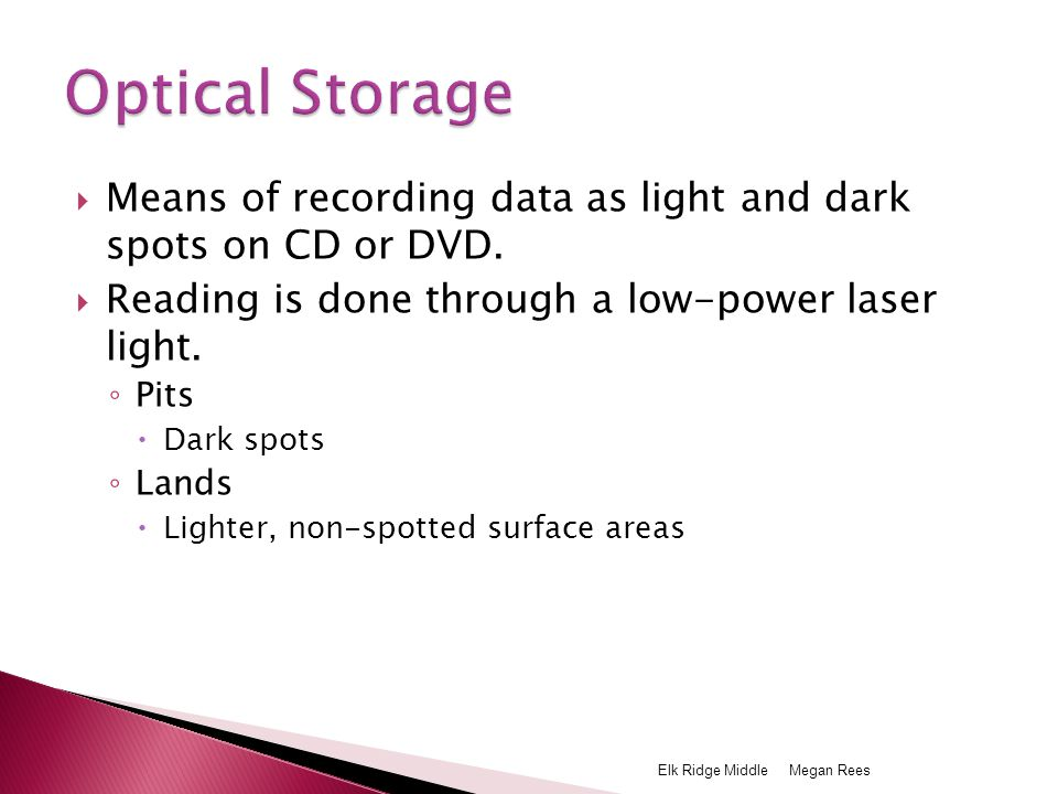  Means of recording data as light and dark spots on CD or DVD.