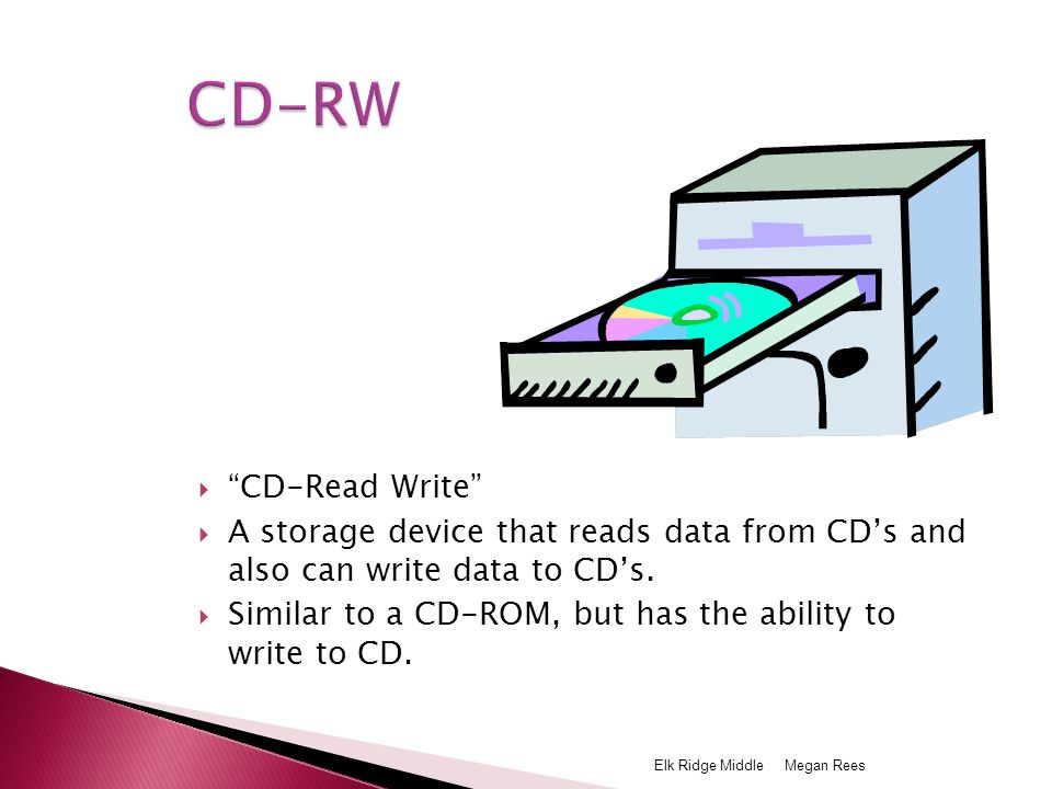  CD-Read Write  A storage device that reads data from CD's and also can write data to CD's.