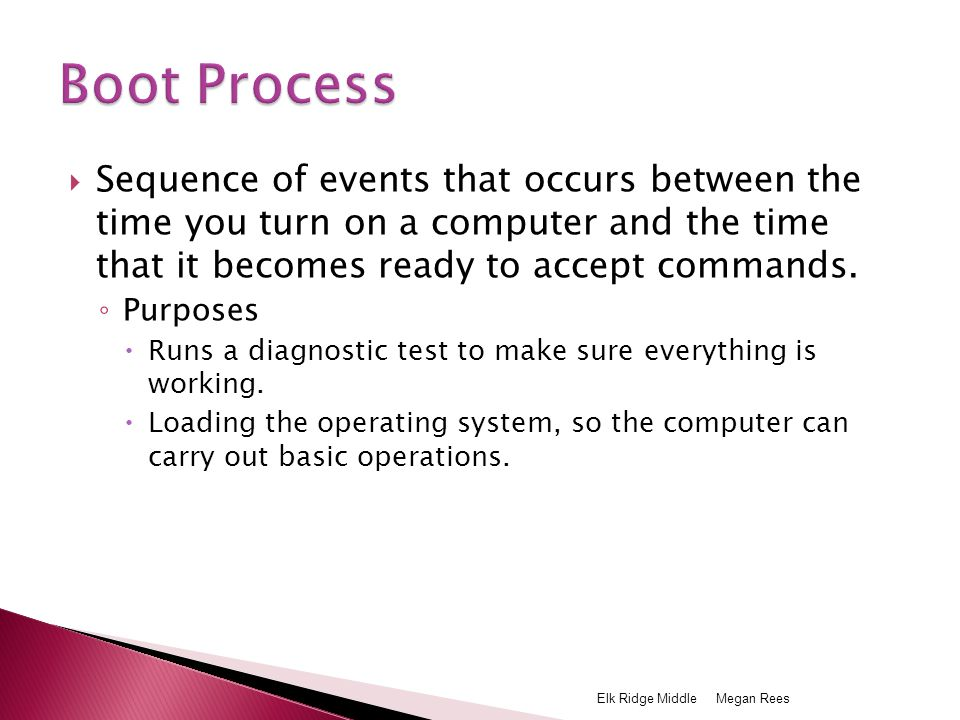  Sequence of events that occurs between the time you turn on a computer and the time that it becomes ready to accept commands.