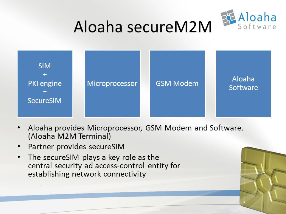 Aloaha secureM2M Aloaha provides Microprocessor, GSM Modem and Software.