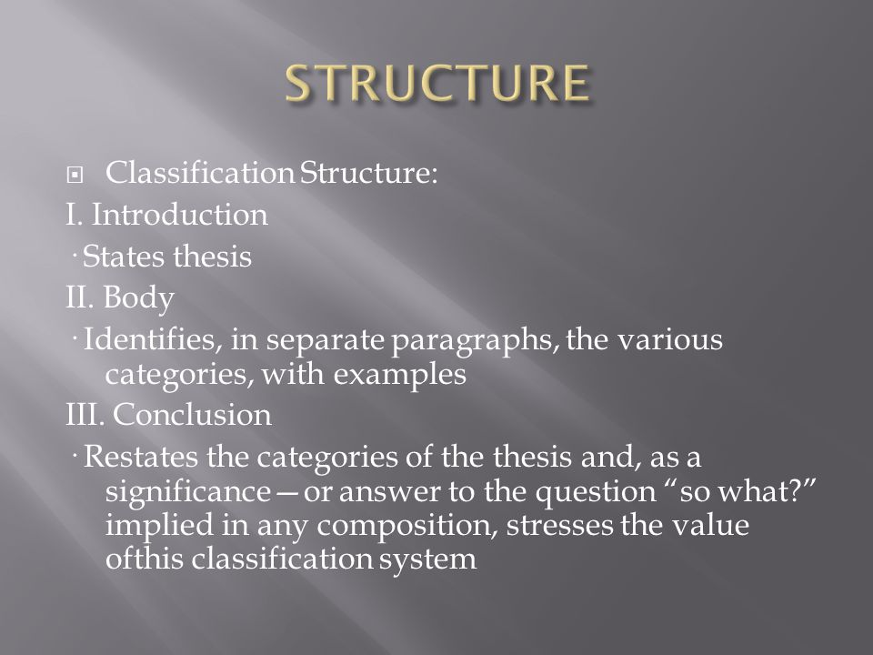  Classification Structure: I. Introduction · States thesis II.