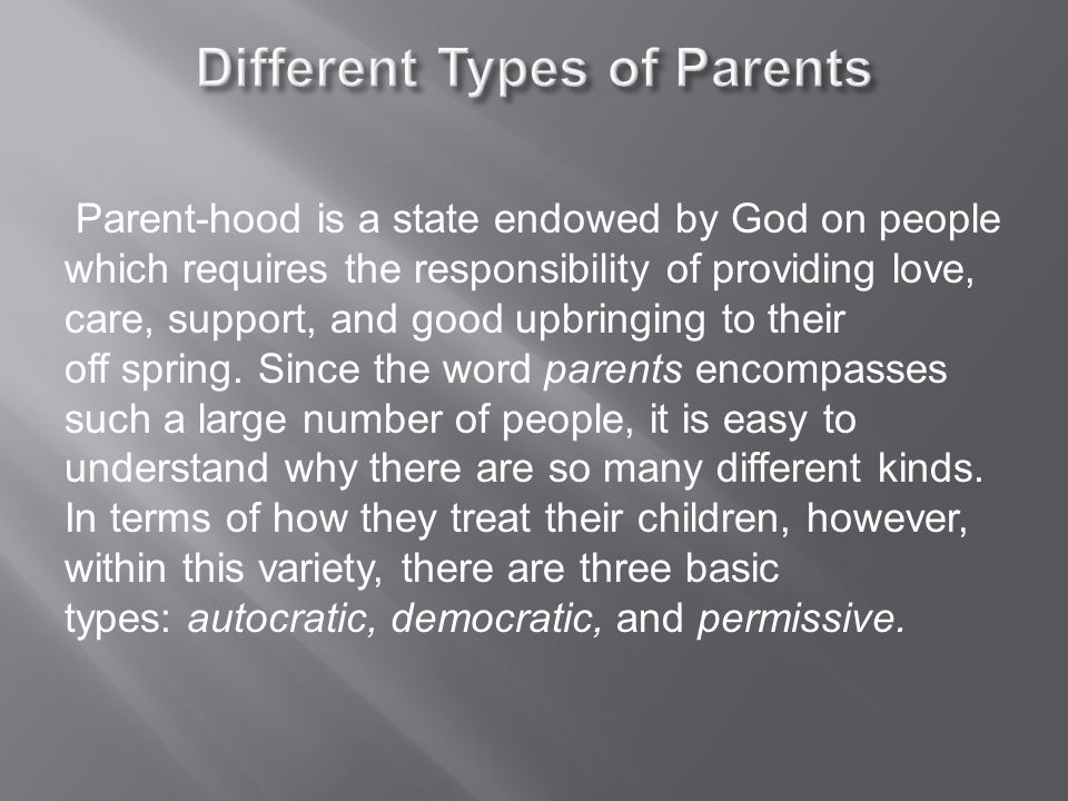 Parent-hood is a state endowed by God on people which requires the responsibility of providing love, care, support, and good upbringing to their off spring.