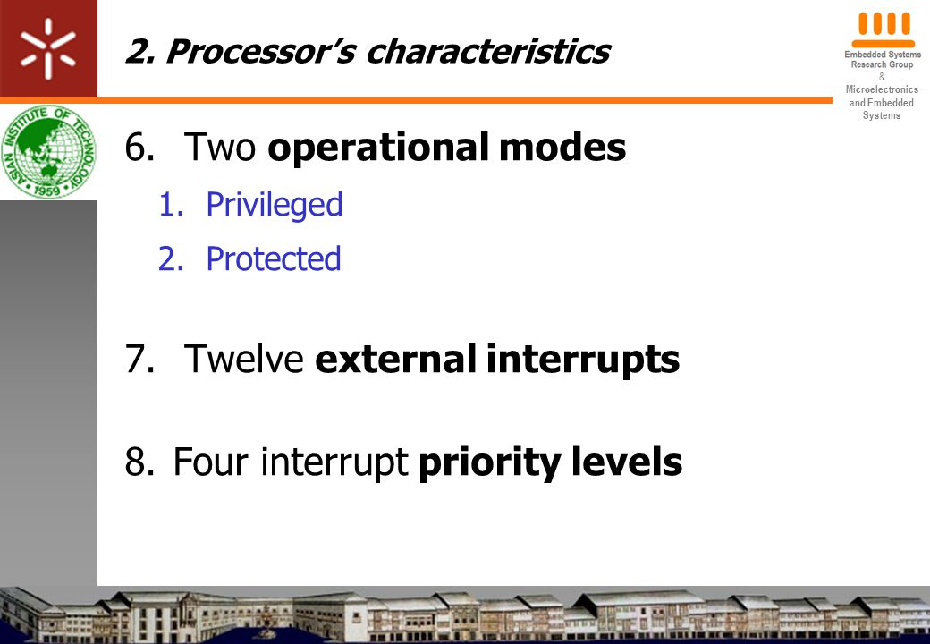 & Microelectronics and Embedded Systems 2. Processor's characteristics 6.