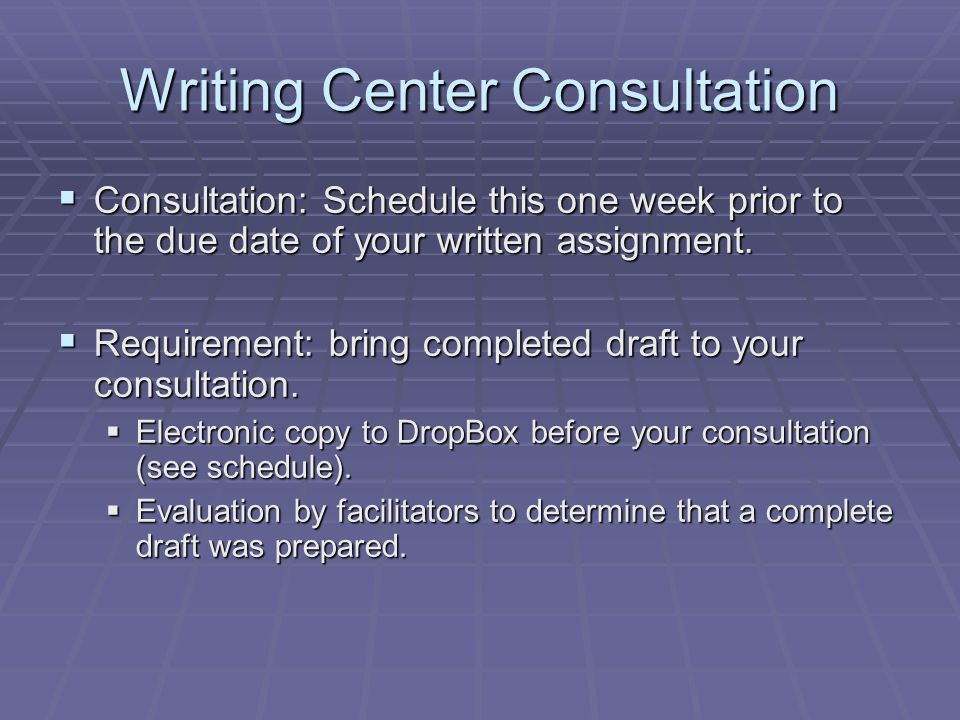 Writing Center Consultation  Consultation: Schedule this one week prior to the due date of your written assignment.  Requirement: bring completed dr