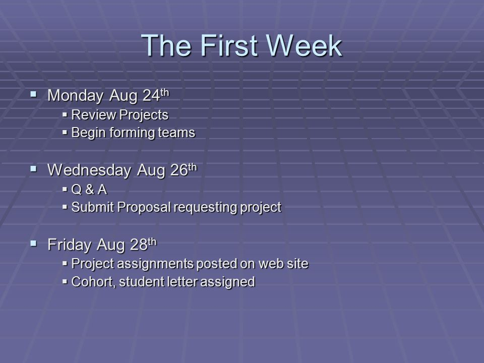 The First Week  Monday Aug 24 th  Review Projects  Begin forming teams  Wednesday Aug 26 th  Q & A  Submit Proposal requesting project  Friday Aug 28 th  Project assignments posted on web site  Cohort, student letter assigned