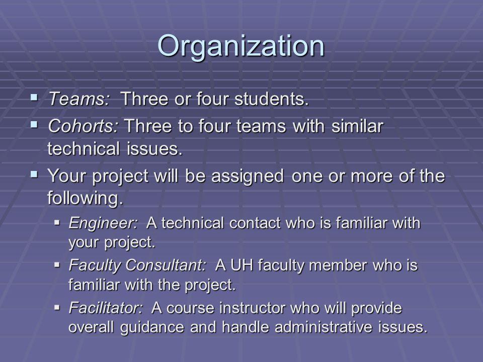 Organization  Teams: Three or four students.