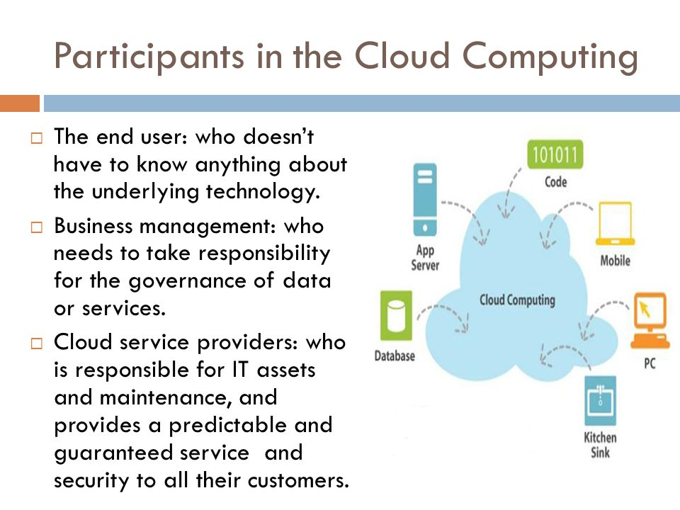 Participants in the Cloud Computing  The end user: who doesn't have to know anything about the underlying technology.