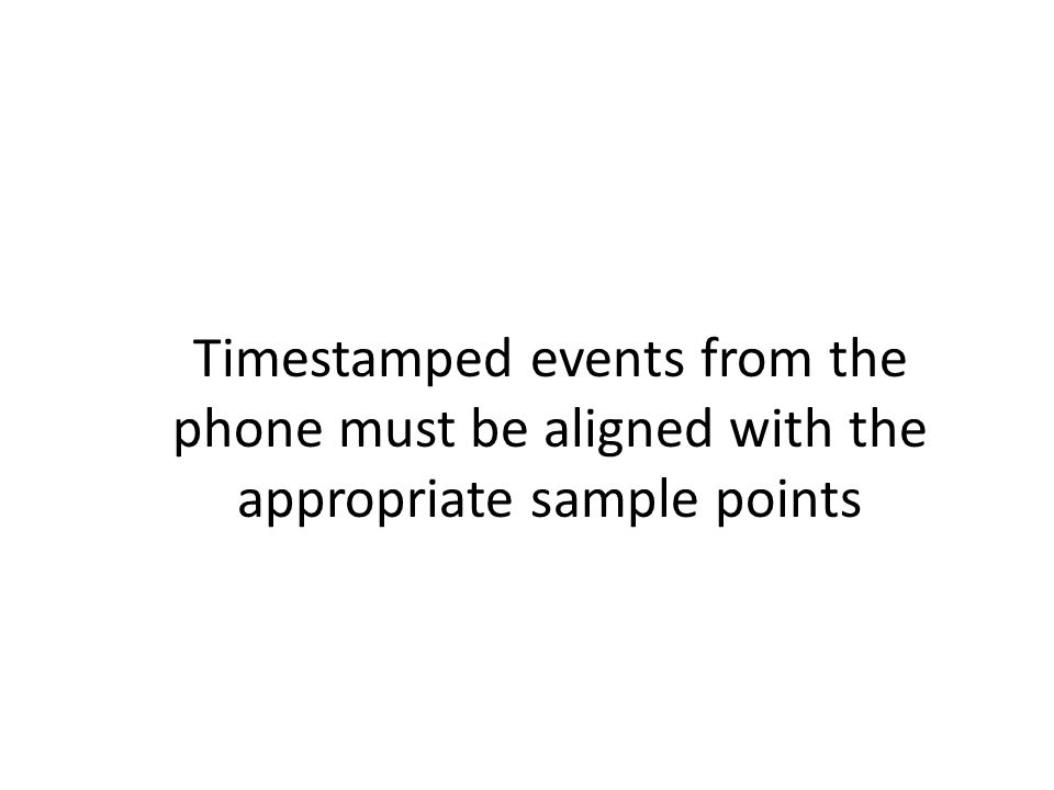 Timestamped events from the phone must be aligned with the appropriate sample points
