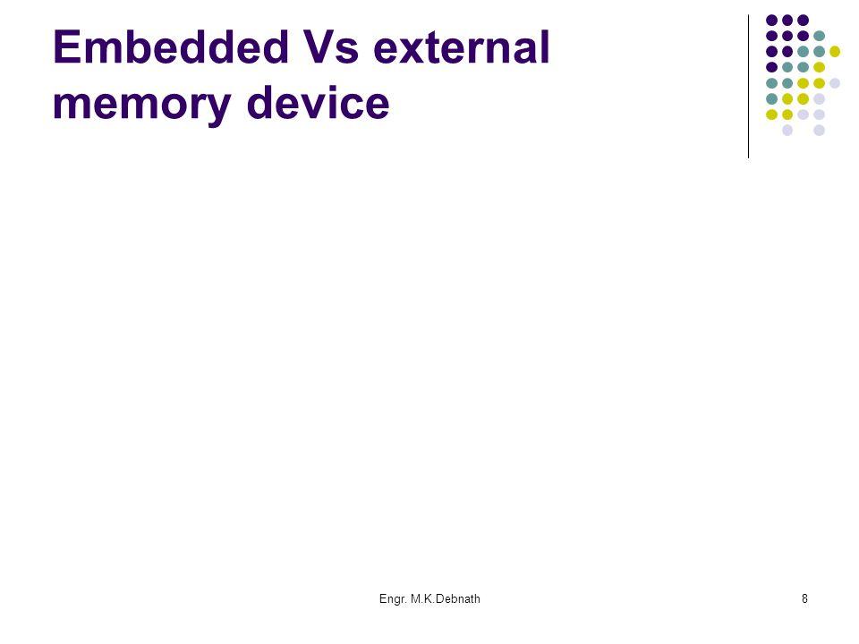 Engr. M.K.Debnath8 Embedded Vs external memory device