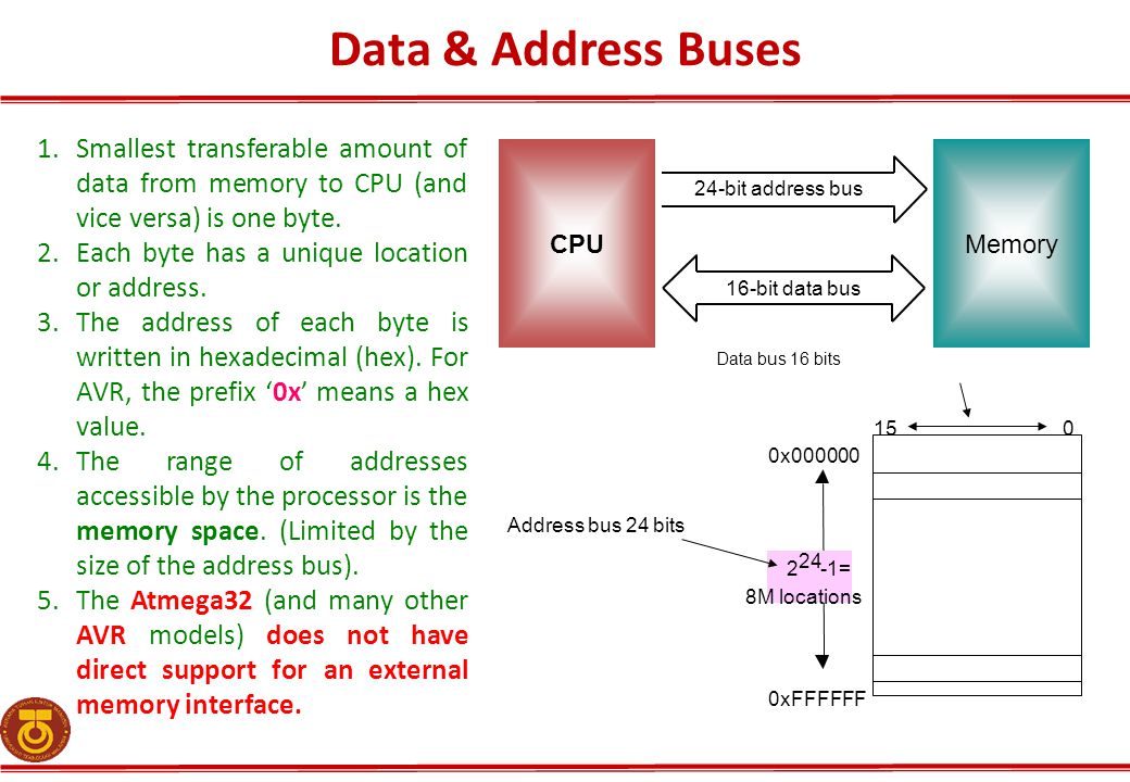 Data & Address Buses 015 2 24 -1= 8M locations Address bus 24 bits 0x000000 0xFFFFFF 24-bit address bus 16-bit data bus Data bus 16 bits CPUMemory 1.S
