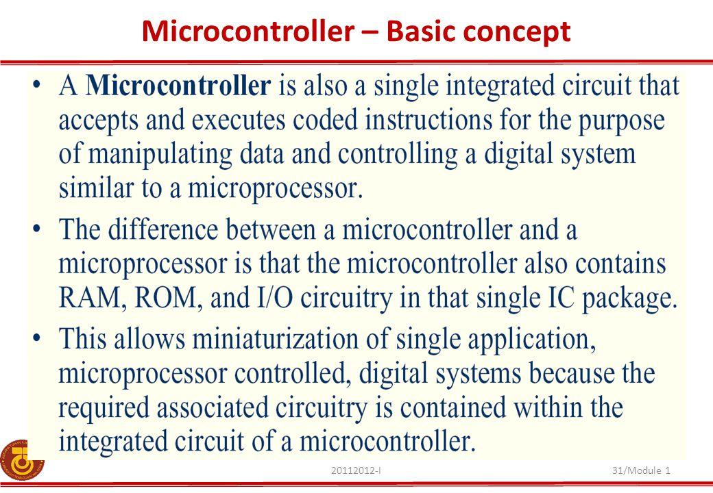 20112012-I31/Module 1 Microcontroller – Basic concept