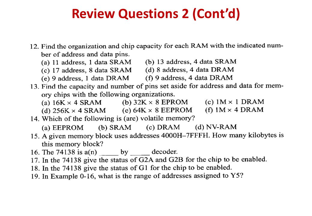Review Questions 2 (Cont'd)